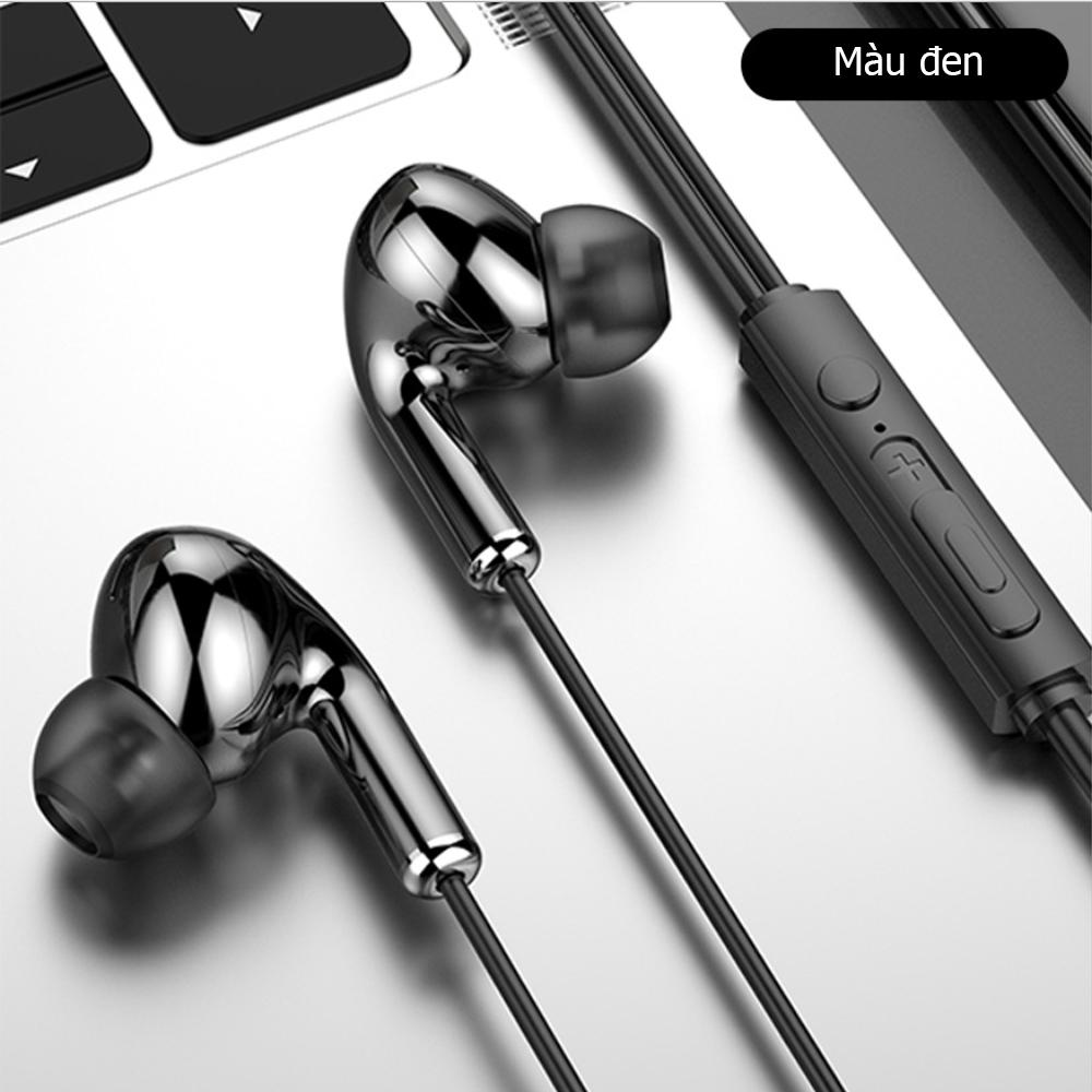 Tai nghe nhét tai có dây HQ6, có míc đàm thoại, âm thanh vòm 8D, thiết kế khoa học không gây đau tai.