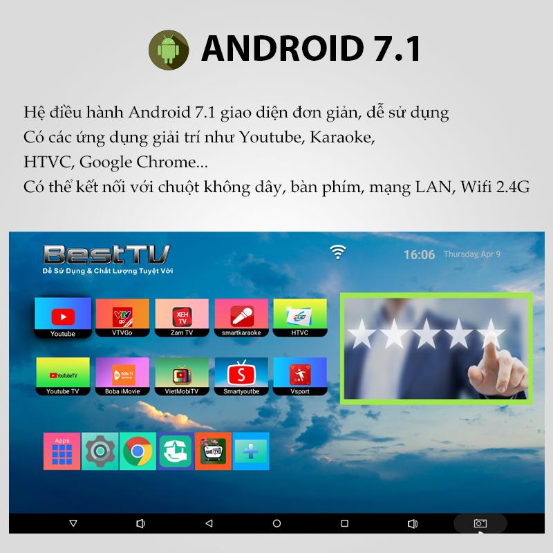 Android TV Box BestTV R10 RAM 2GB, ROM 8GB, chuẩn nén H.265, hỗ trợ độ phân giải Full HD 1080P, HĐH Android 7.1, HDMI 2.0, thao tác đơn giản, hỗ trợ kết nối Wifi, LAN, chuột không dây, bàn phím, sản phẩm dành riêng cho thị trường Việt Nam