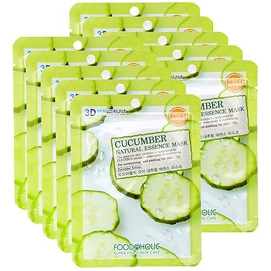 Bộ 10 Gói Mặt Nạ Dưỡng Ẩm Trắng Da 3D Foodaholic Cucumber Natural Essence Mask 23ml x10