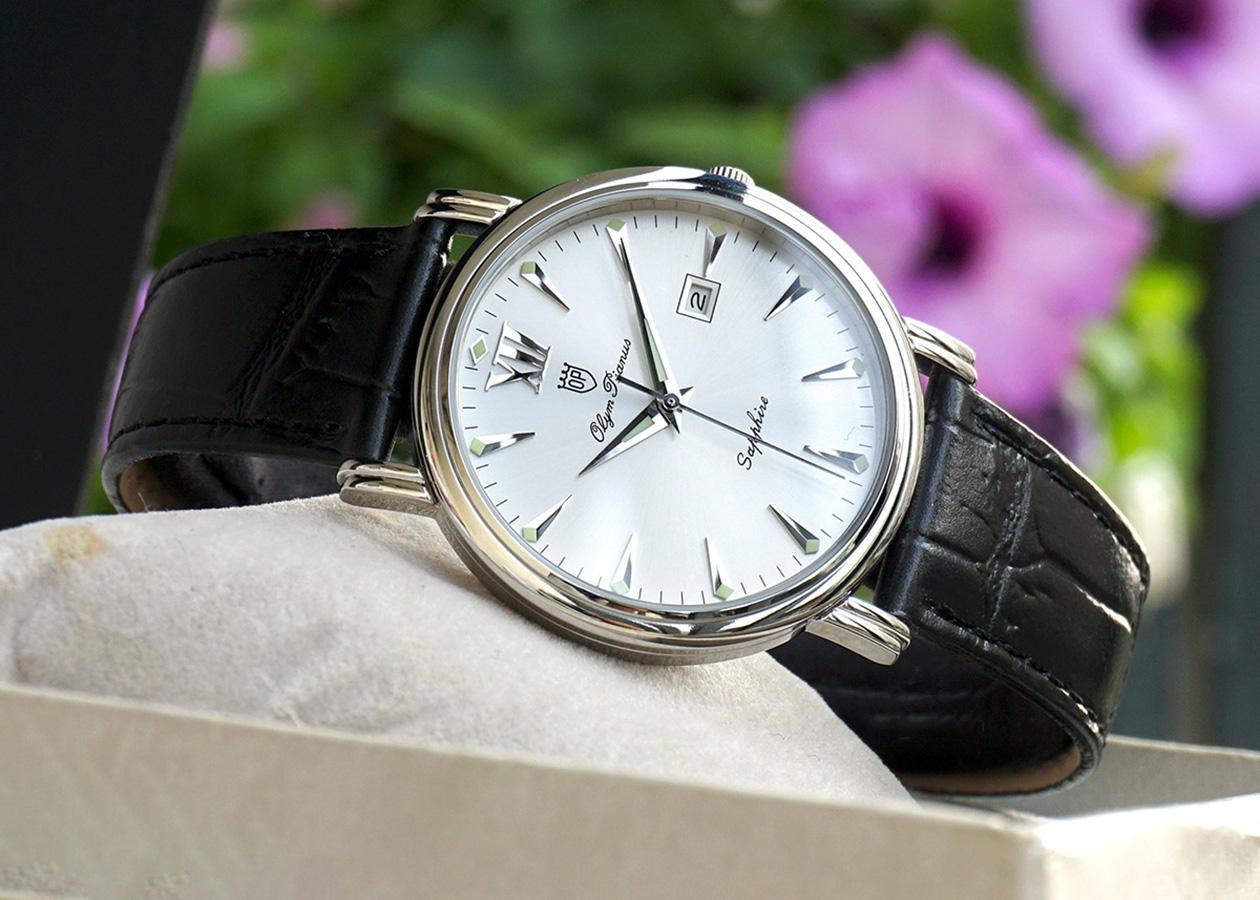 Đồng hồ nam dây da Olym Pianus OP130-07MS-GL trắng