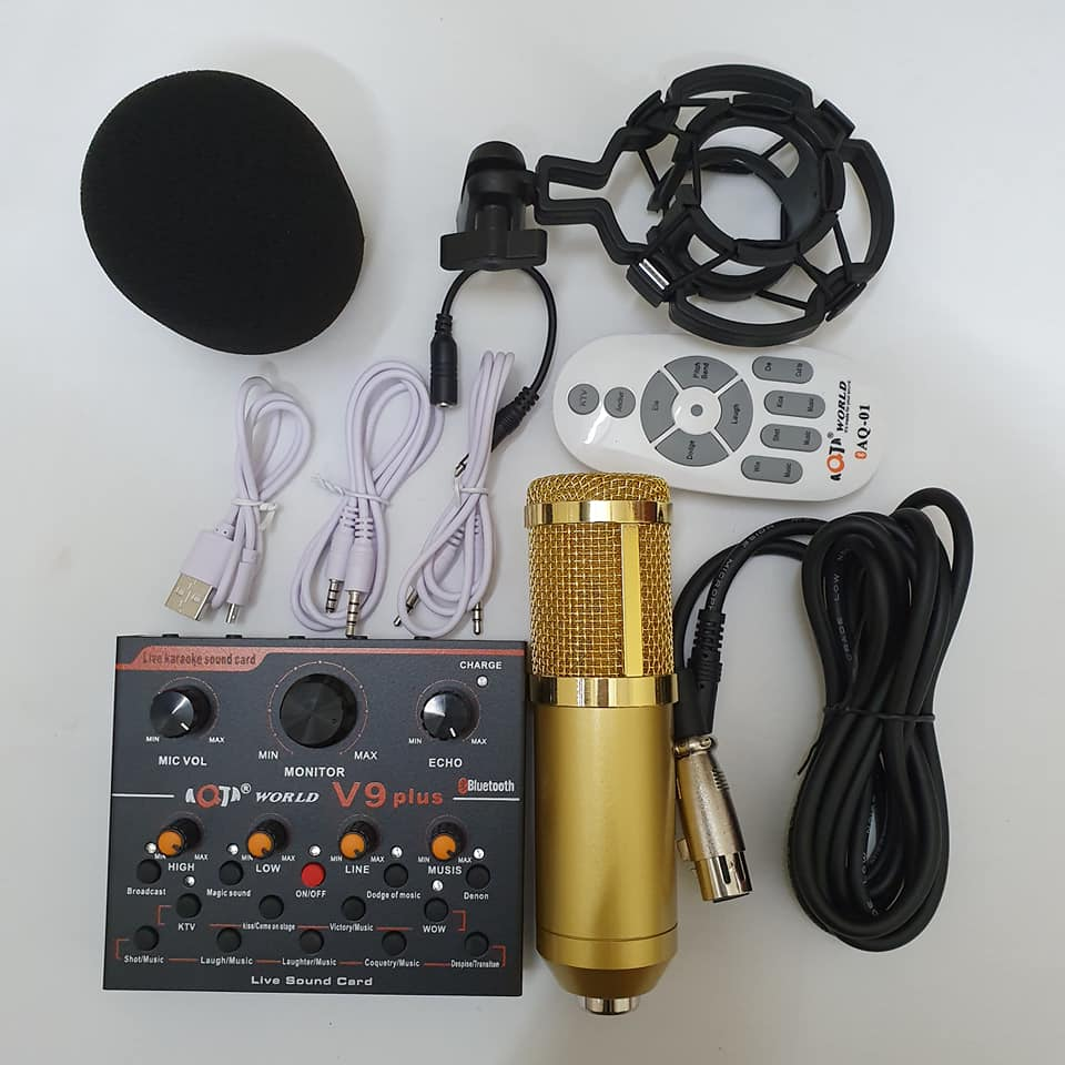 Bộ Míc Thu Âm Livestream Hát Karaoke Online CARD V9 plus Bluetooth + Micro BM-900