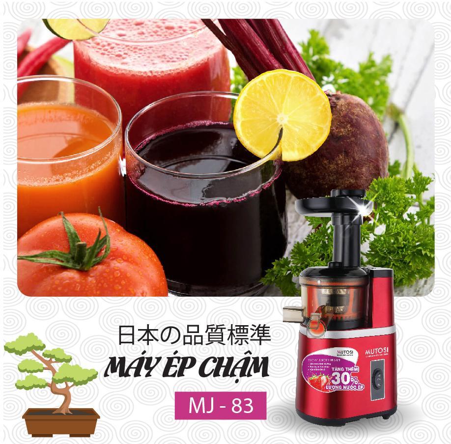 Máy ép chậm Mutosi MJ-83 - Máy ép trái cây, rau củ, hoa quả - Giữ nguyên dưỡng chất, tăng 30% lượng nước, êm ái không ồn - Hàng chính hãng