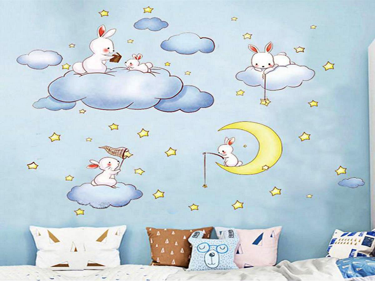 Decal dán tường thỏ ngồi trên mây am9168