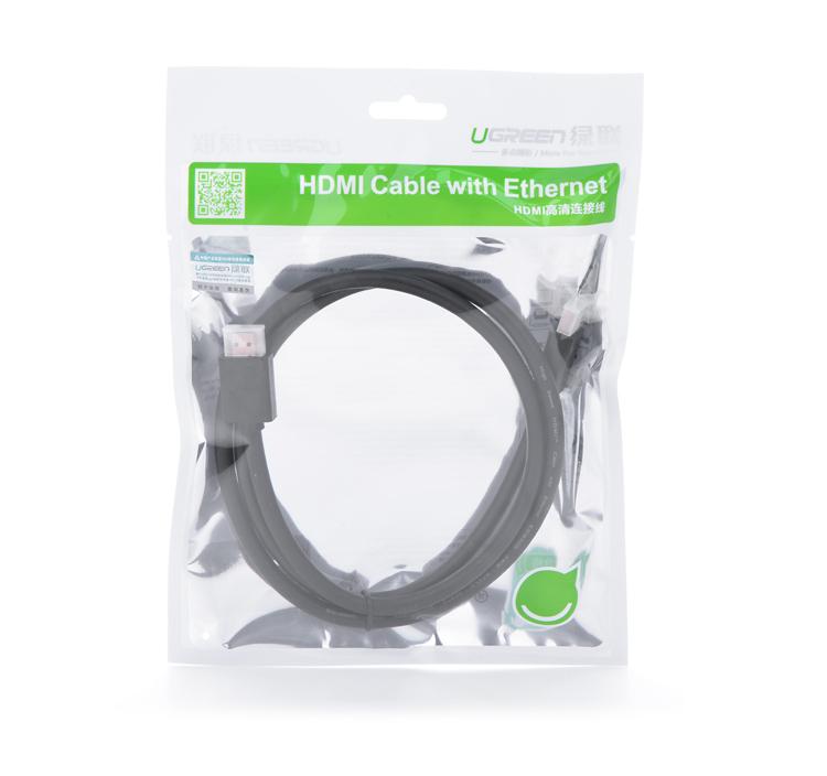 Dây HDMI 1.4 19+1 thuần đồng dây dẹt đầu hợp kim bọc lưới Dài 1m HD102 10250 - Hàng chính hãng