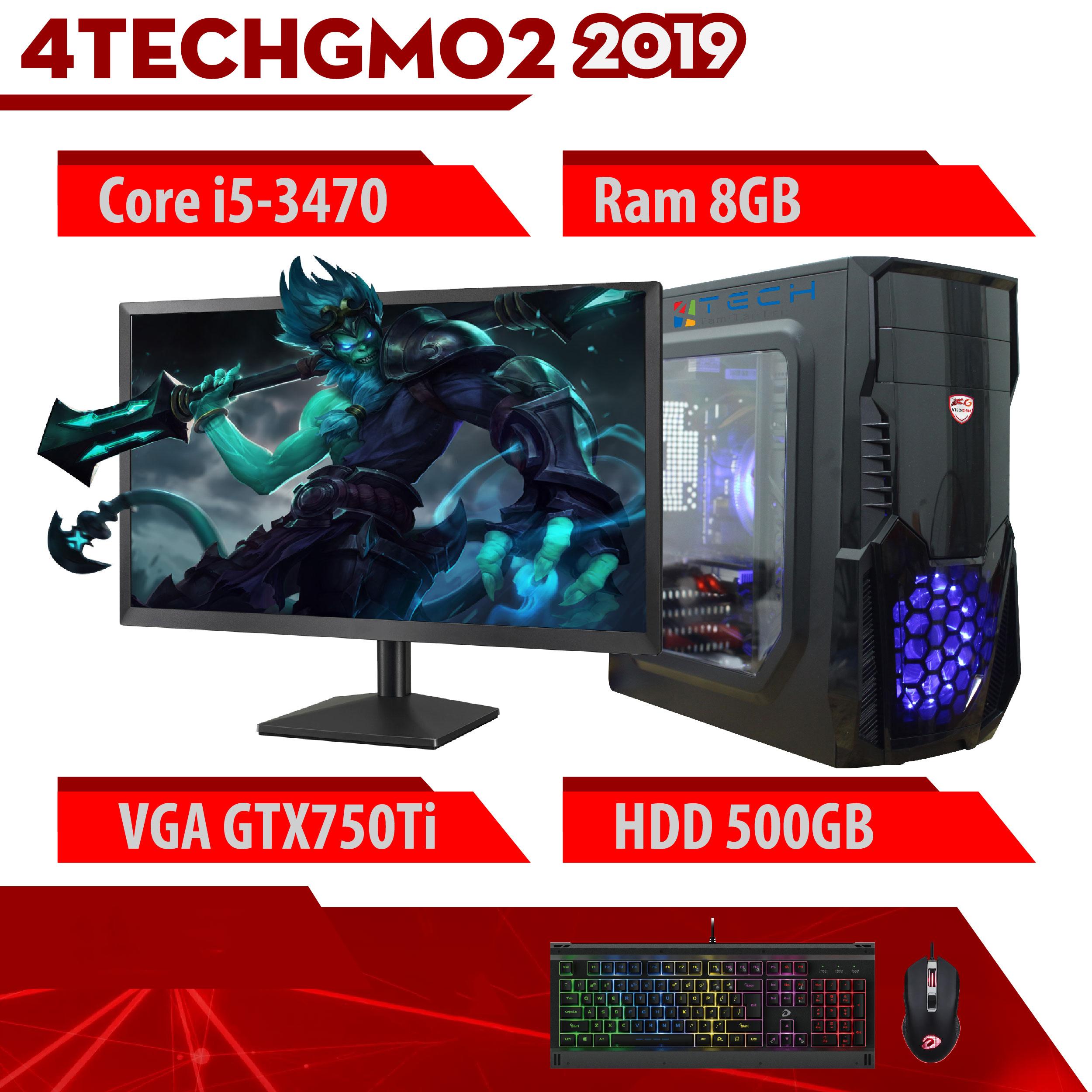 Nguyên bộ máy tính văn phòng, màn hình 22inch 4TechGM02 2019 Core i5 kèm kết nối wifi vào mạng không dây, chơi Maxsetting LOL, đột kích, Fifa, chơi tốt Gta5, Pubg. - Hàng Chính Hãng.