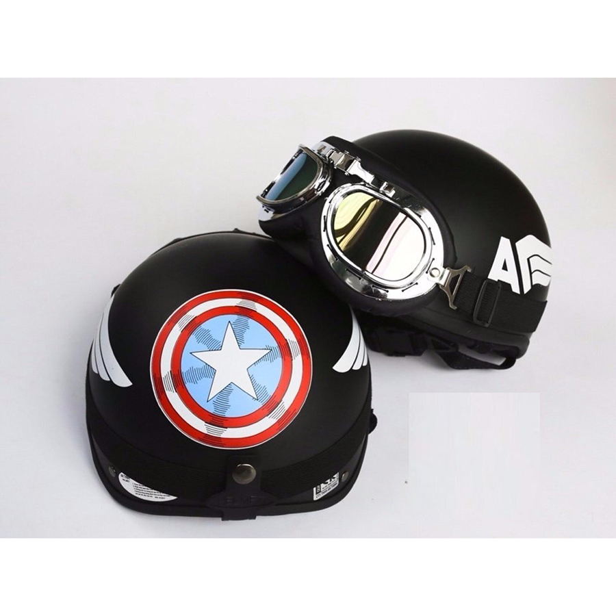 Mũ bảo hiểm 1/2 Tem Cap Tặng Kính phi công màu ngẫu nhiên