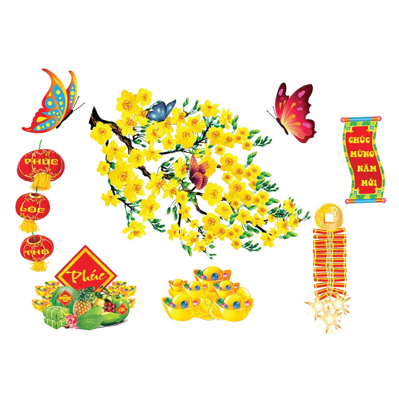 Set hoa mai hoa đào trang trí tết nổi 3D size nhỏ