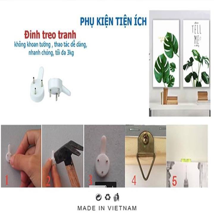 Bộ 5 - Tranh treo tường - Trang trí phòng khách/Bình hoa 3D/Gỗ MDF Hàn Quốc/Chống ẩm mốc, mối mọt T3M-25273