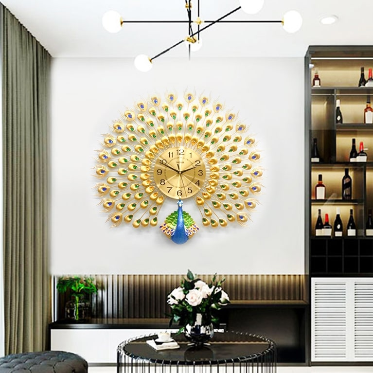 Đồng Hồ Treo Tường Trang Trí Đẹp Con Công S-A25 chim khổng tước độc lạ 3d cỡ lớn nghệ thuật phù hợp cho phòng khách, phòng ngủ