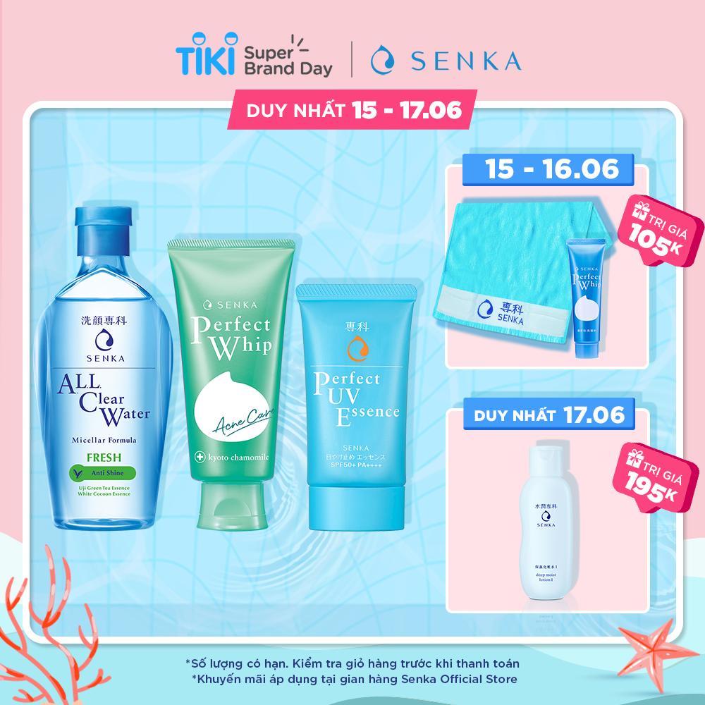 Hình ảnh Bộ sản phẩm Senka làm sạch và chống nắng dành cho da mụn (Senka A.L.L.Clear Water Fresh 230ml + SRM Acne Care 100g + Senka Perfect UV Essence 50g)