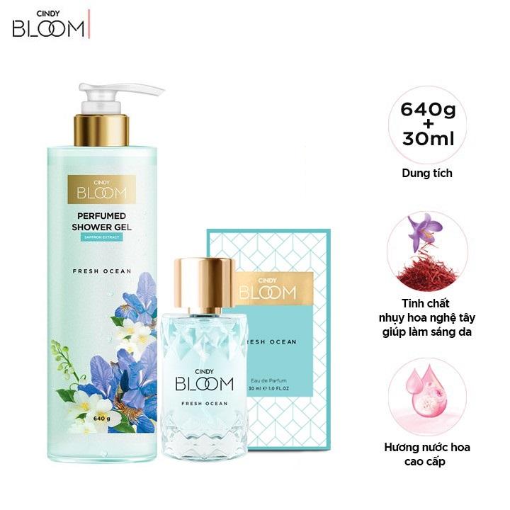 Combo Sữa Tắm Nước Hoa 640g & Nước Hoa 30ml Cindy Bloom Fresh Ocean