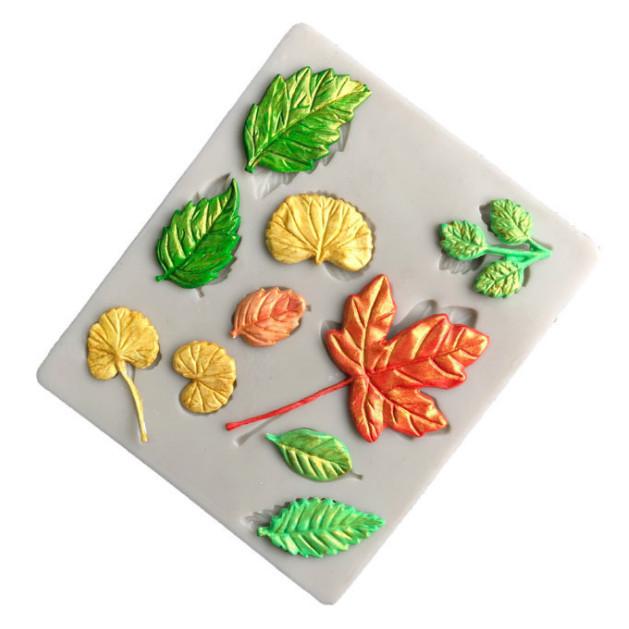 Khuôn silicon làm rau câu 10 chiếc lá