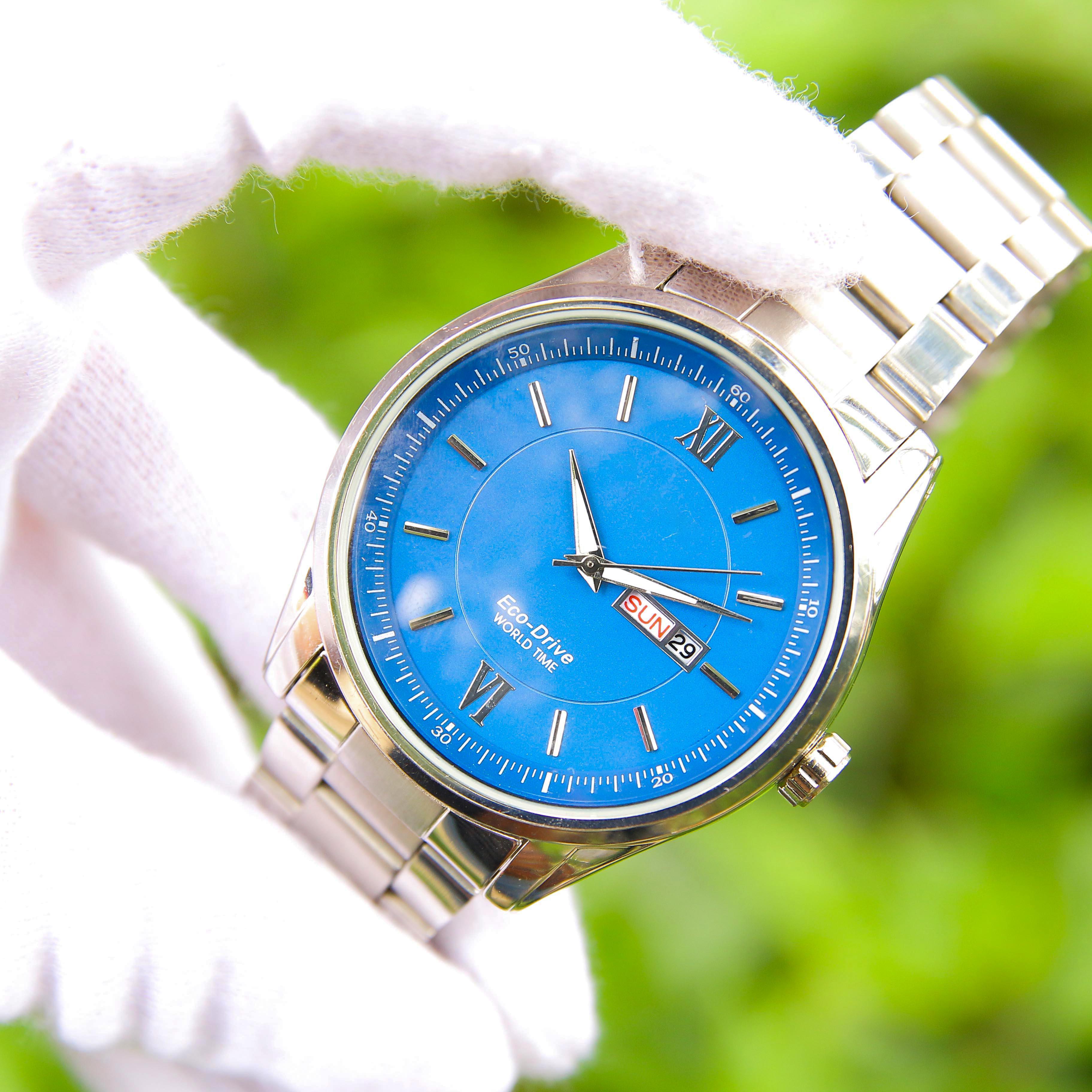 Đồng hồ nam dây thép mặt tròn CT003050 phong cách Ý hiển thị 2 lịch ngày tháng – Thiết kế sang trọng – Lịch lãm