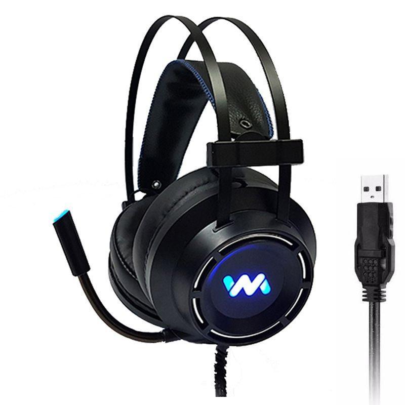 Tai nghe gaming Wangming WM9800 7.1 USB LED (Đen) - Hàng nhập khẩu