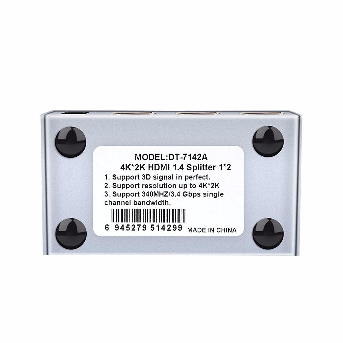 Bộ chia HDMI 1 ra 2 Dtech DT-7142A - Hàng Chính Hãng