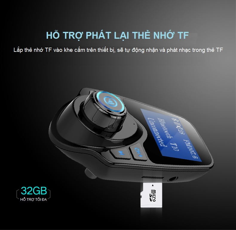 Máy Nghe Nhạc MP3, FM Không Dây Bluetooth Trên Ô TÔ T10 AZONE
