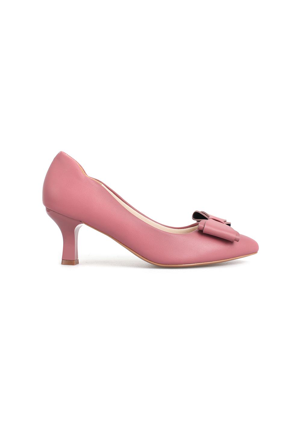 Giày cao gót 7p mũi nhọn phối nơ da nữ tính thương hiệu PABNO PN421
