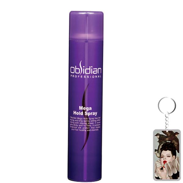 Gôm xịt tóc tạo kiểu tóc cứng Obsidian Mega Hold Pray Hàn Quốc 300ml tặng kèm móc khoá