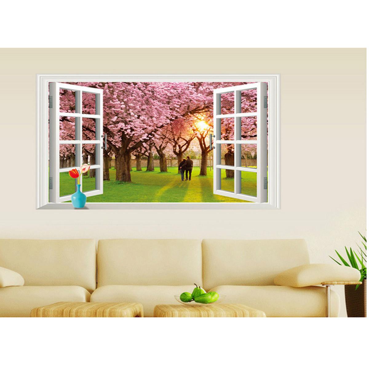 decal dán tường cửa sổ hoa đào tình nhân