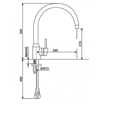 Vòi rửa chén (rửa bát) nóng lạnh cao cổ  American Standard WF-5608 (FFAS5608) Minimalistic