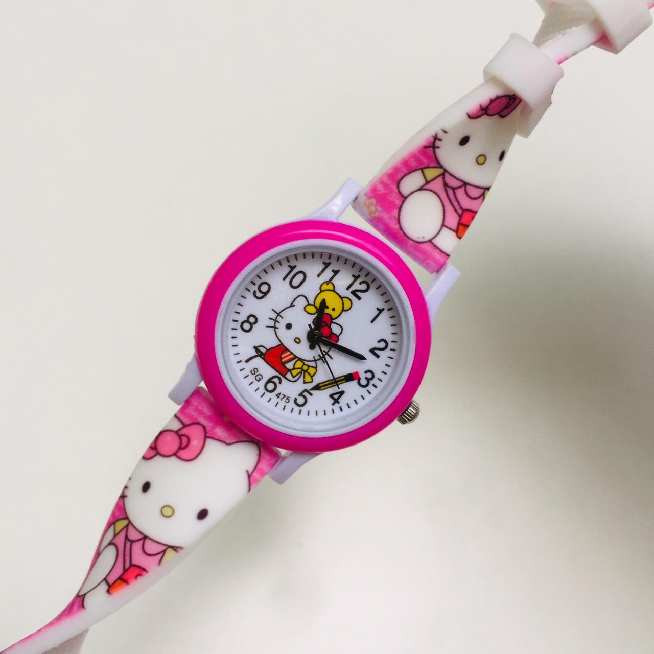 Đồng hồ trẻ em hình hello kitty dây silicon dành cho bé gái - KITTY22hong
