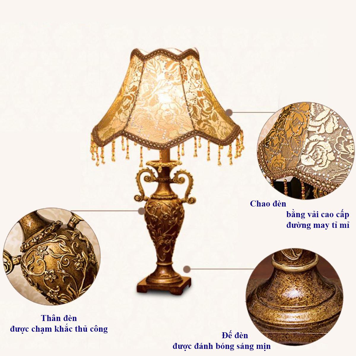 Đèn Bàn Trang Trí Nội Thất Phong Cách Châu Âu Cổ Điển DN-430 , Đèn Ngủ Để Bàn Chạm Khắc Tinh Xảo.