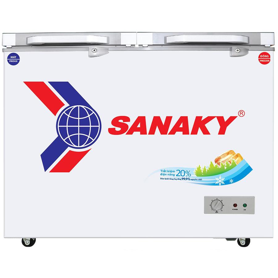 Tủ Đông Kính Cường Lực Sanaky VH-2599W2K (195L) - Xám - Hàng Chính Hãng - Chỉ Giao tại HCM