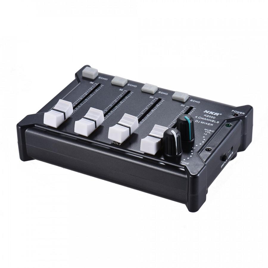 Professional Mini Pocket 4-Channel mono Stereo Audio DJ Sound Mixer USB Powered BT Connecting Mobile Phone Black - Black
