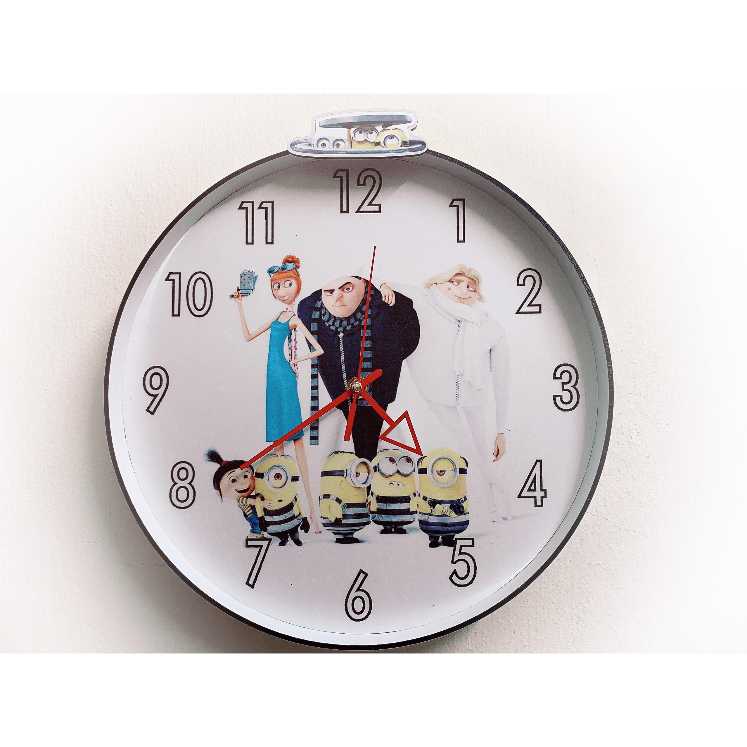 Đồng hồ treo tường độc đáo MINION 001, kim trôi, không gây tiếng ồn, sản xuất thủ công