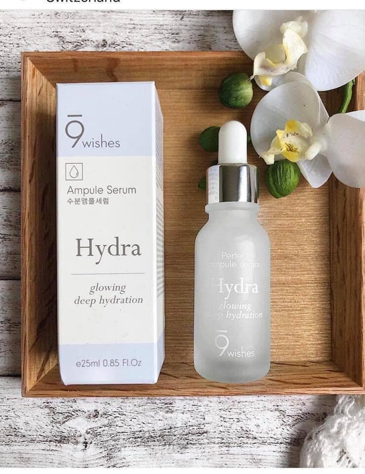 Tinh Chất Cấp Ẩm Và Làm Sáng Da 9 Wishes Hydra Skin Ampule Serum 25ml + Tặng kèm 1 Túi lưới rửa mặt tạo bọt