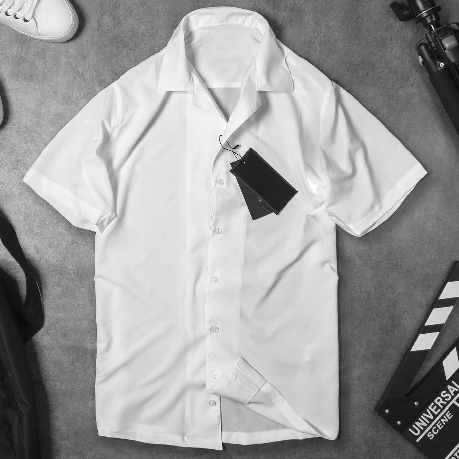 Áo sơ mi nam ngắn tay lụa trắng công sở cao cấp Hamino cộc tay lỡ chất lụa mềm mại thoải mái form slmfit ôm dáng thời trang Hàn Quốc, áo sơ mi cộc tay nam, áo sơ mi nam tay lỡ công sở cao cấp