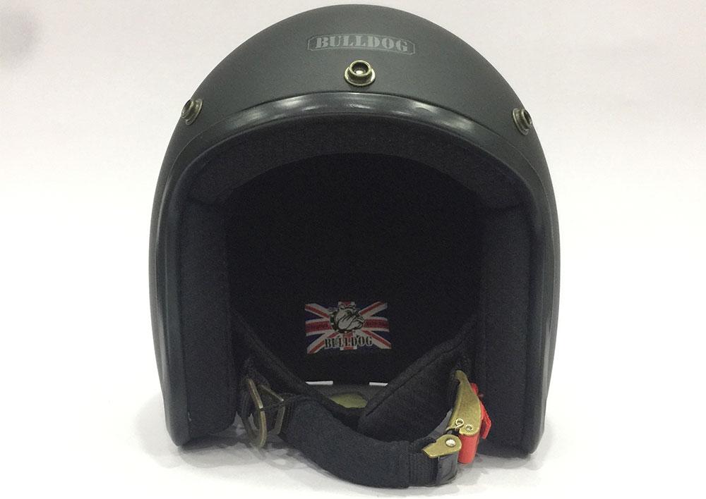 Mũ bảo hiểm 3/4 Bulldog Bravo Chính hãng - Logo thêu may trong nón