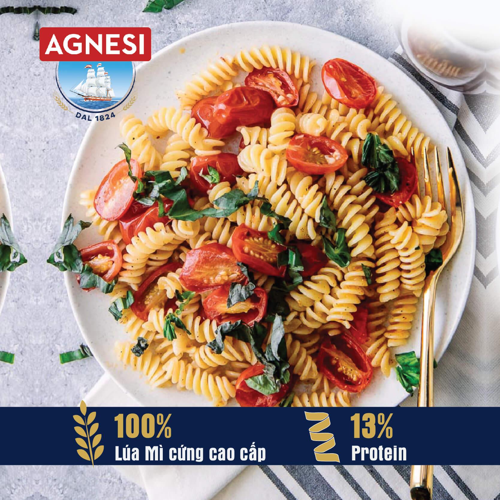 Nui xoắn Fusilli N.78 Agnesi 500g, làm từ lúa mì cứng cao cấp Semolina, luộc 10 phút, nhập khẩu Ý