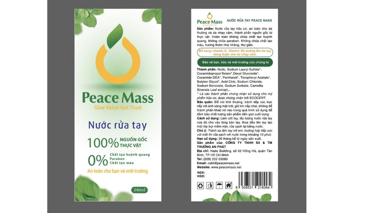 [An toàn cho da nhạy cảm] Nước rửa tay nước hữu cơ PEACE MASS 340ML
