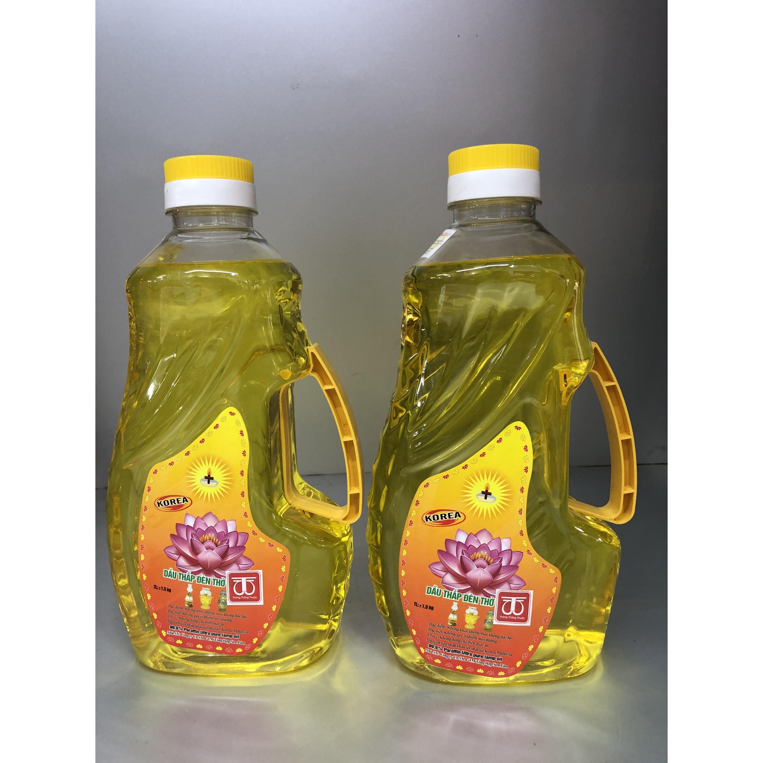 Combo 2 chai Dầu đốt đèn thờ hoa sen 2 lít đủ không mùi , chai mầu vàng, không độc hại DA187