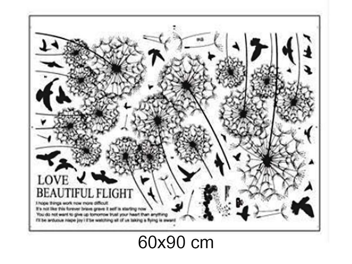 Decal dán tường hoa bồ công anh đen bay trong gió jm7317