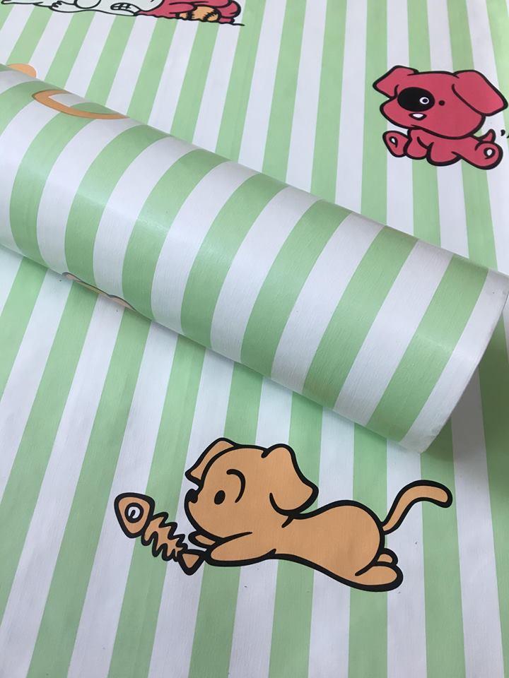5m giấy decal cuộn sọc xanh lá DT111(45x500cm)