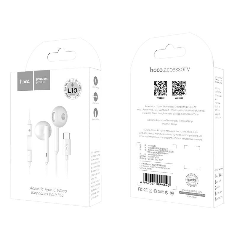 Tai nghe nhét tai cổng USB Type C Hoco L10 - Hàng chính hãng