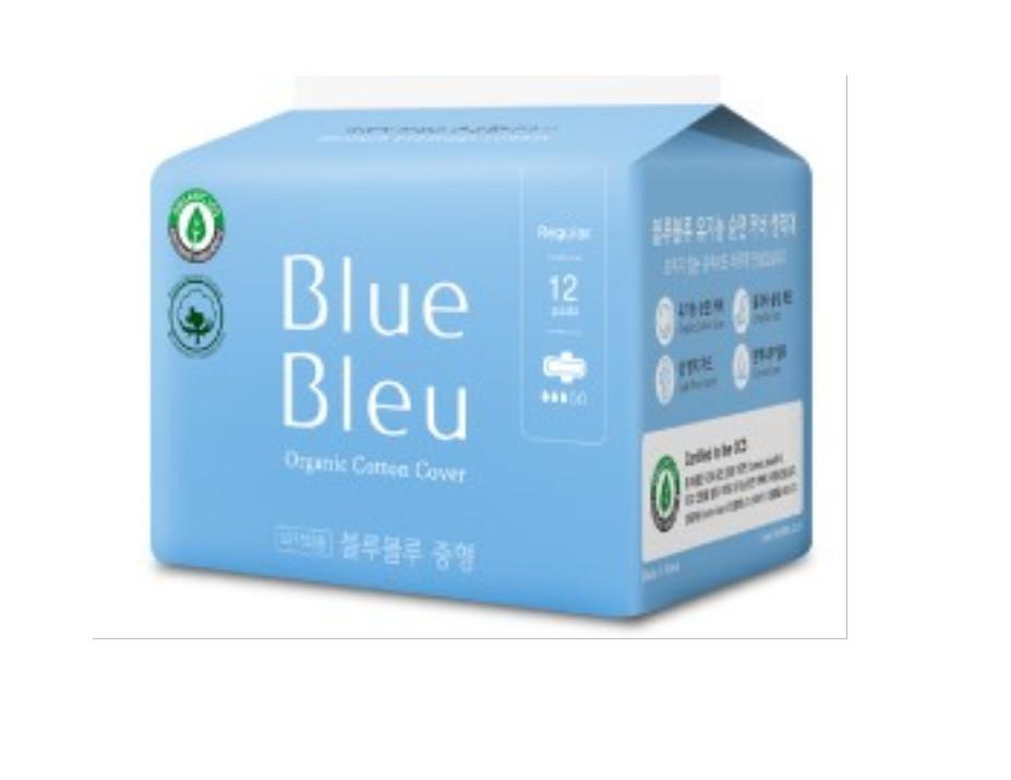 Băng Vệ Sinh Trong Chu Kỳ Blue Bleu Từ Sợi Bông Hữu Cơ Và Tinh Dầu Cây Bách Siêu Mỏng, Có Cánh (25cm)