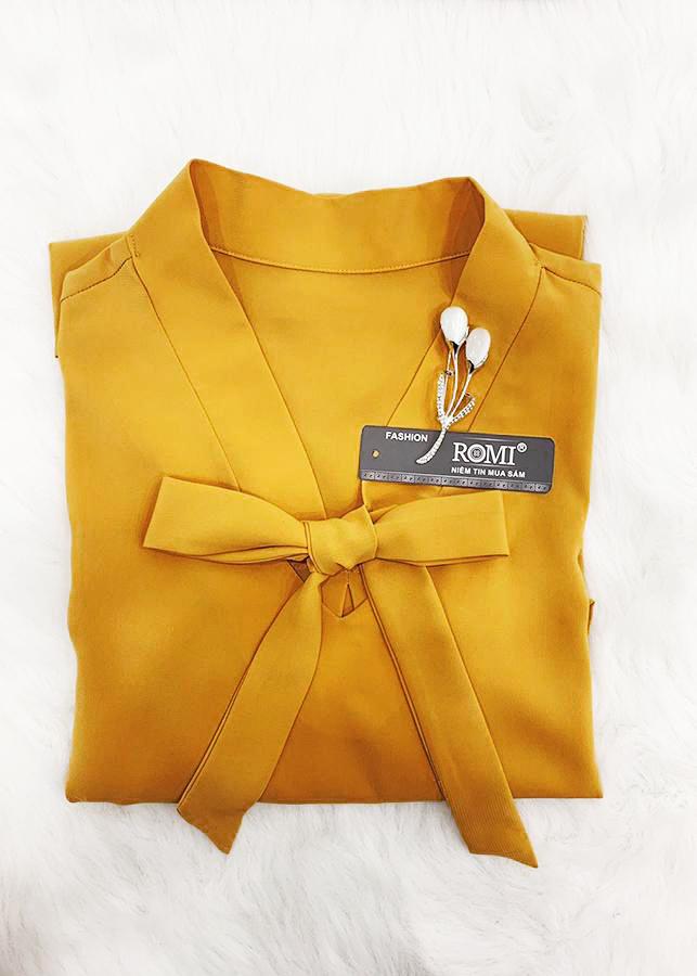 Áo sơ mi công sở nữ kiểu áo cột nơ cổ chữ v tay dài ROMI 3091