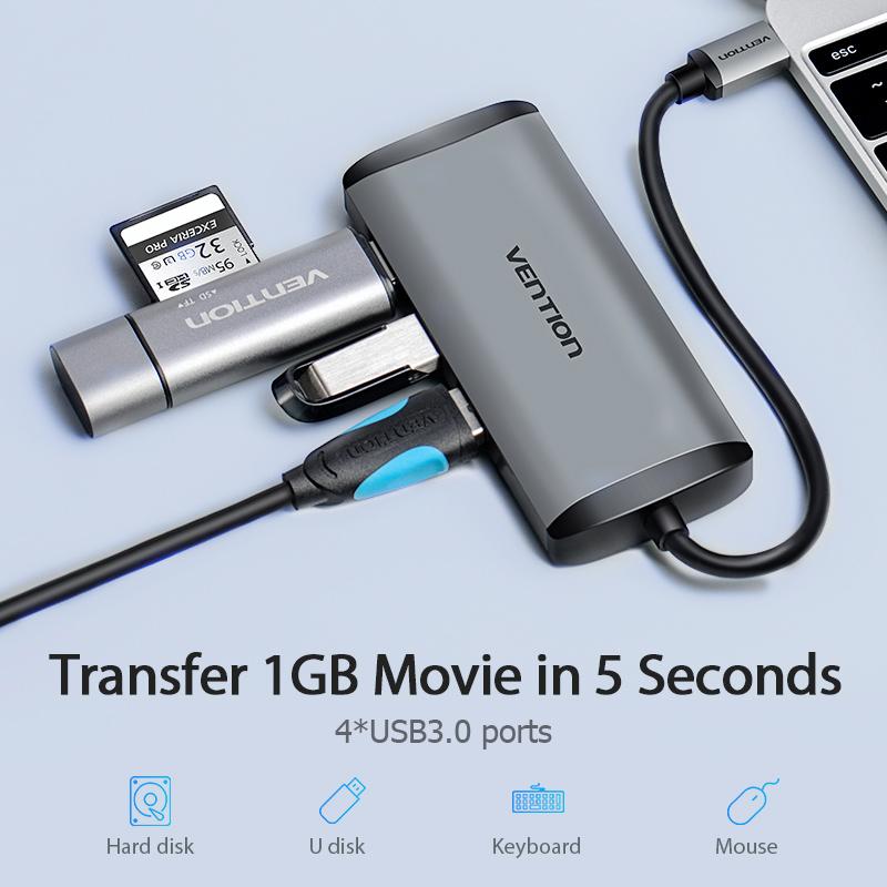 Cáp chuyển USB Type C to 4*USB 3.0 + PD(87w) Type-C Vention TGAHB (5 in 1) - Hàng chính hãng