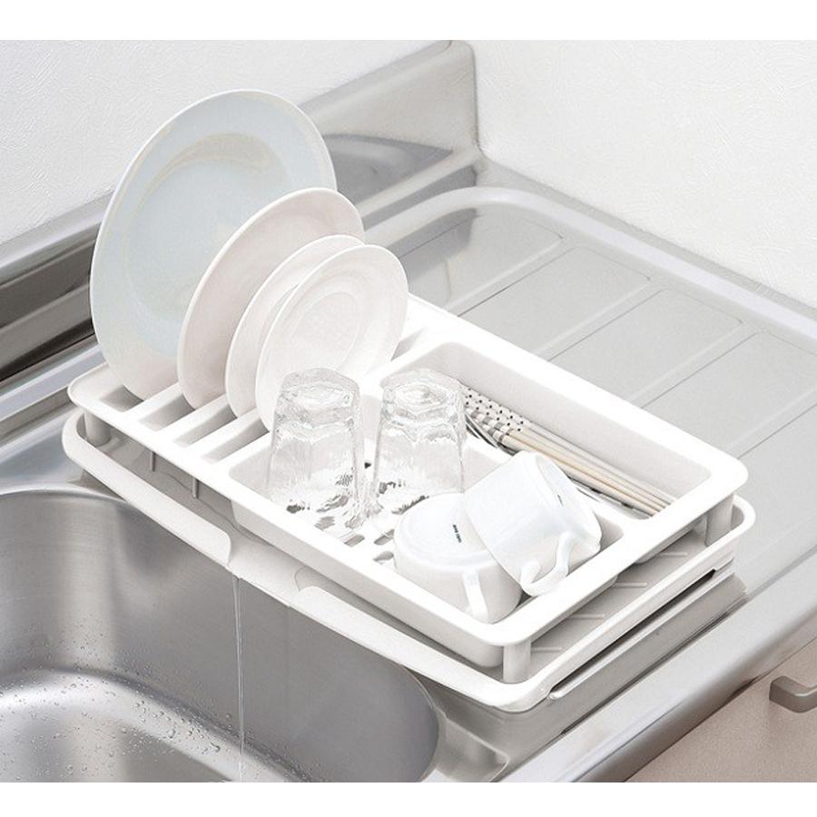 Kệ úp bảo vệ bát đĩa tiện dụng (màu trắng) - Hàng nội địa Nhật