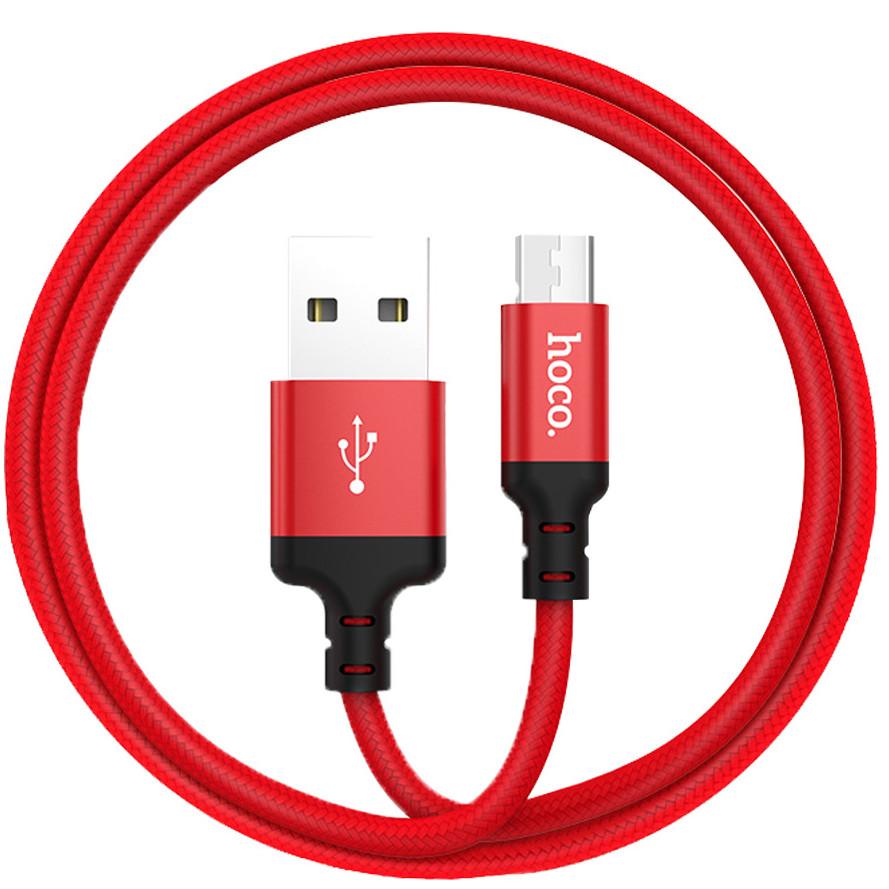 Cáp sạc nhanh Hoco X14 Micro Usb 2.0A, màu đen và đỏ, dài 1m, dành cho điện thoại Android - Hàng Chính Hãng