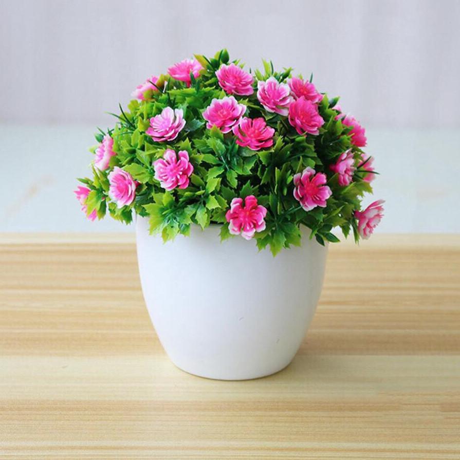 Chậu cây hoa giả mini để bàn trang trí siêu đẹp Lali-09