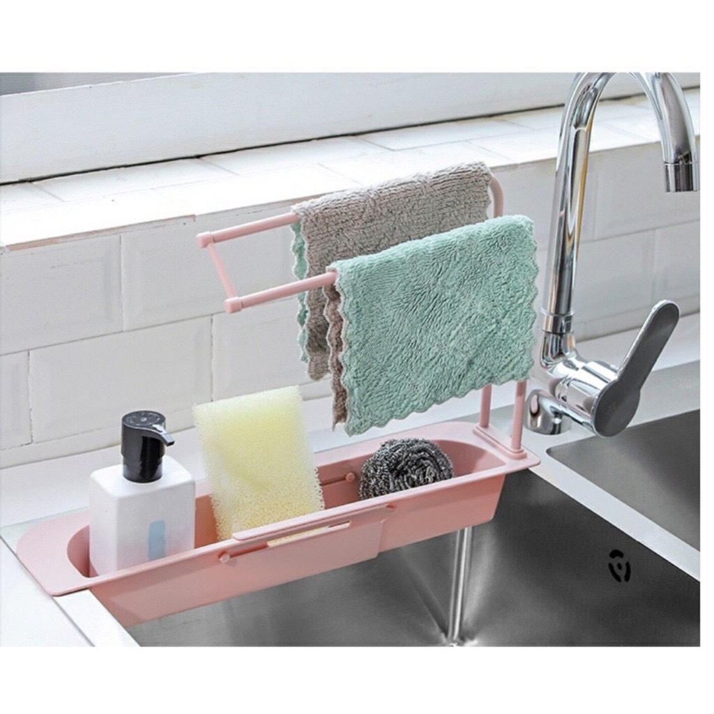 Kệ nhựa dài CO DÃN để bồn đựng đồ rửa chén, có khay treo khăn lau tay nhà  bếp mới - giao màu ngẫu nhiên | VI TÍNH NAM TRUNG HẢI | Tiki