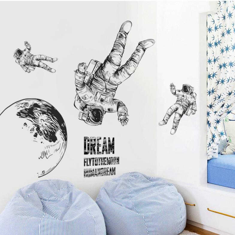 Astronaut 3 phi hành gia - Decal 3D hình dán trang trí