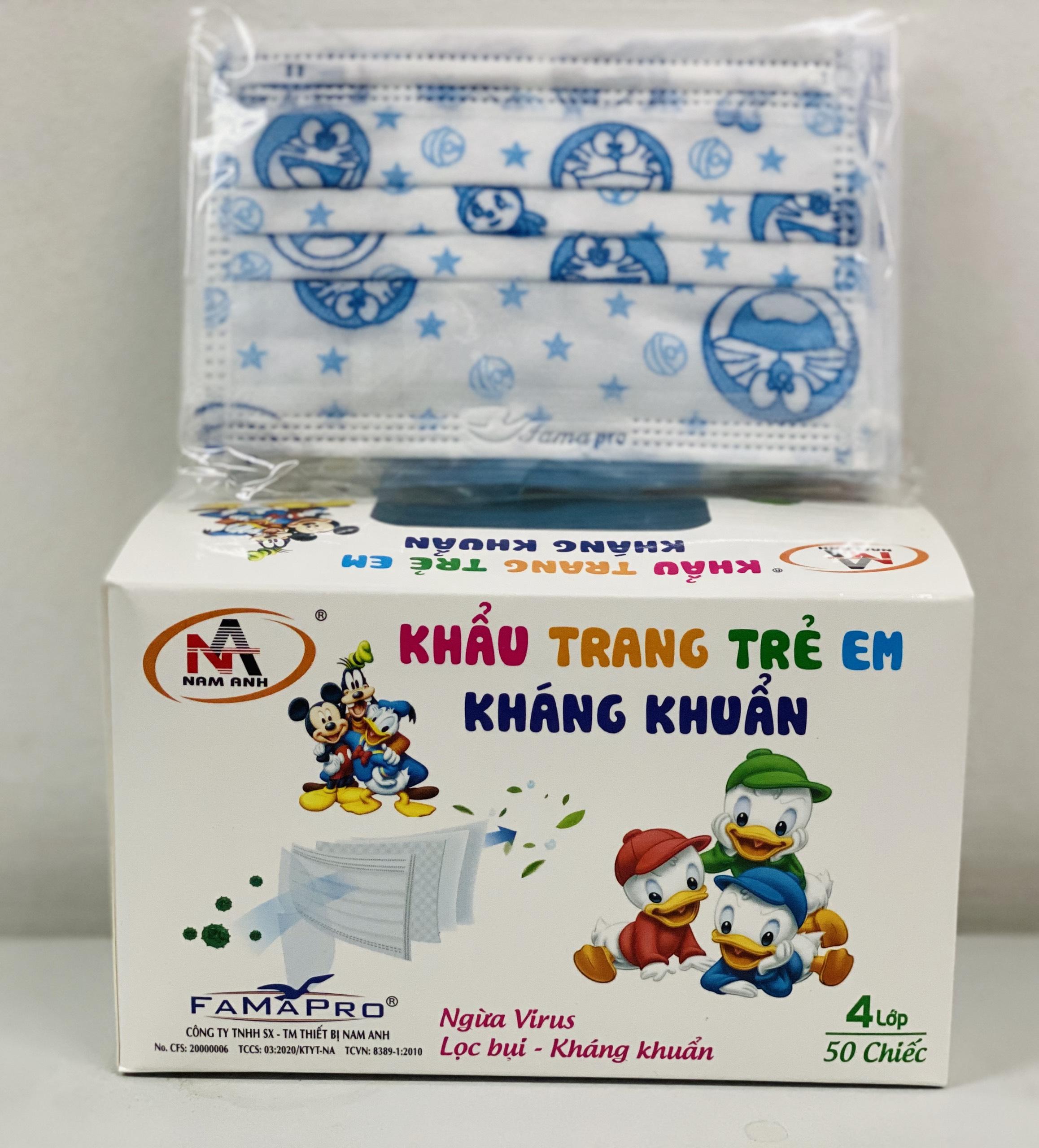 Combo 2 Hộp Khẩu trang trẻ em kháng khuẩn Famapro (Hộp 50 cái -Xanh Đôrêmon)
