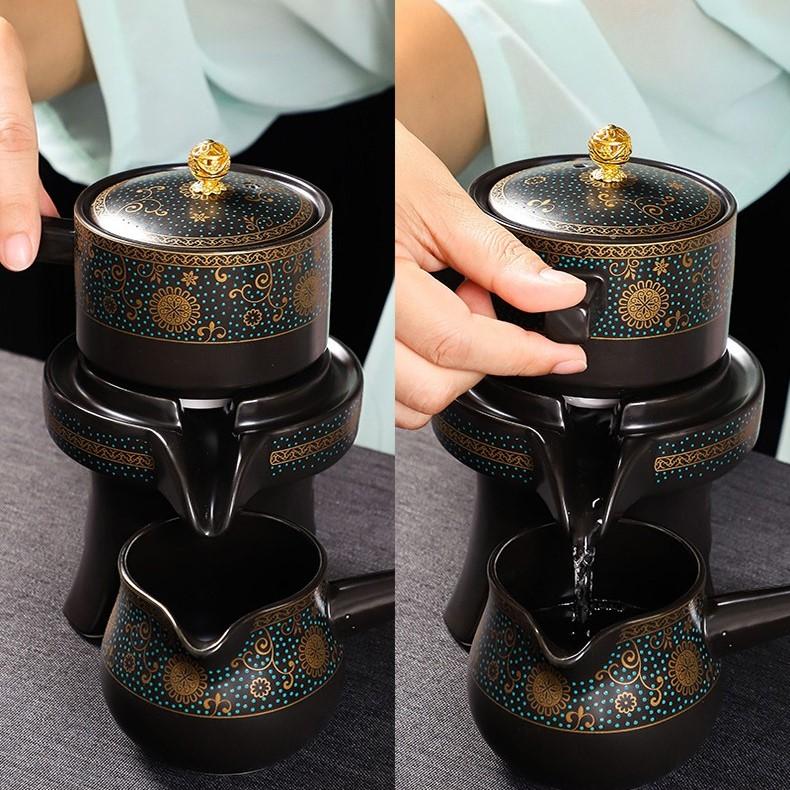 Bộ ấm chén pha trà cối xay sm010 – Hoa Hướng Dương 12 món