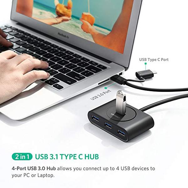 Bộ chia USB 3.0 4 cổng + USB Type C Ugreen 40850 chính hãng Ugreen