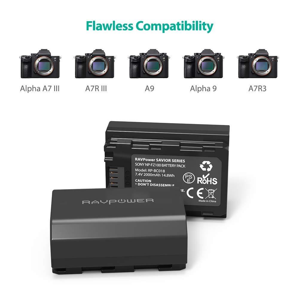 Bộ 2 pin 1 sạc RAVPower for Sony FZ100 (SONY A9, A7R III, A7 III) - Hàng chính hãng